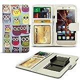 N4U Online® Verschiedene Muster Clip Serie Kunstleder Brieftasche Hülle für Oukitel U7 Pro - Eule