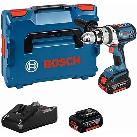Bosch Professional 18V Akku Schlagbohrschrauber GSB 18 VE-2-LI 2x 4,0 Ah Akku Schnellladegerät Zusatzhandgriff L-BOXX (18 Volt Max. Drehmoment: 85 Nm max. Bohrfutter: 13 mm)