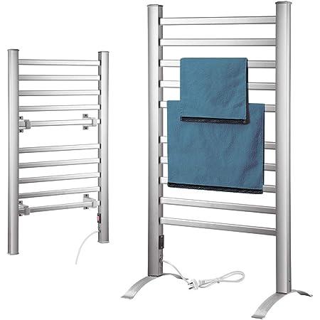 Towel Warmers ALUK- Scaldasalviette A Parete A 4 Barre Scaldasalviette in Acciaio Inossidabile Cremagliera per Bagno Scaldasalviette Elettrico Ad Alta Efficienza Energetica da 58 W
