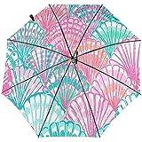 Sombrilla de Viaje a Prueba de Viento de Color Seashell Impresa - Toldo Reforzado a Prueba de Viento