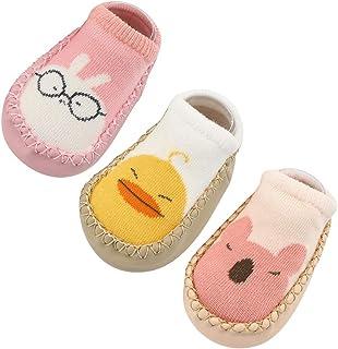 Happy Cherry, 3Pcs Calcetines Prewalker para Recien Nacido Antideslizante Zapatillas de Piso Estampado Dibujo Animado Algodón Multicolor