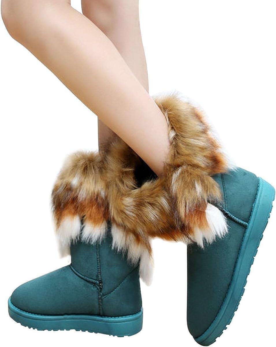 VFDB Women Mid Calf Boot Suede Faux Fur Tassel Outdoor Winter Snow Suede Flat.