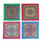 4 pezzi di turbante hip-hop fiore di anacardio in puro cotone, la bandana quadrata è perfetta per le bici hip-hop, anche come fazzoletto/sciarpa (4 stili)