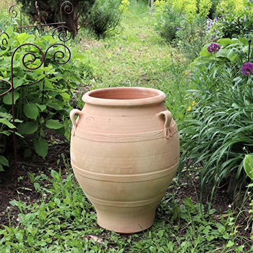 Amphore méditerranéenne en terre cuite - Fabriquée à la main - Résistante au gel - Décoration d'extérieur pour jardin 60 cm