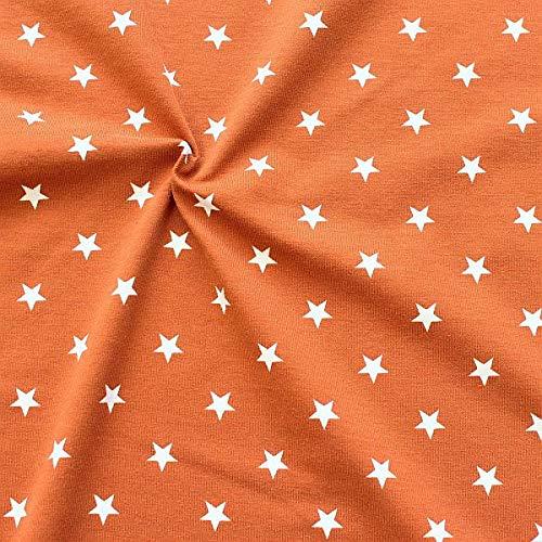 STOFFKONTOR Baumwoll Stretch Jersey Stoff Classic Stars 2 - Öko-Tex Standard, Meterware, Rost-Braun Weiss - zum Nähen von Kleidern, Röcken, Shirts UVM.