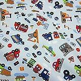 Textiles français Tela de algodón estampada - ¡Vamos! tela para niños - excavadora, tractor, tren, camión de bomberos, avión y más (fondo azul cielo) - 100% algodón | ancho: 160 cm (por metro lineal)*