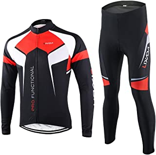 Lixada Spring Autumn Cycling Clothing Set Sportswear Suit Bicycle Bike Outdoor Long Sleeve Jersey + Pants Breathable Quick...