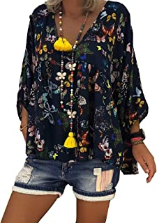 Aooword Women's Long Sleeve Plus Size Butterfly Print Blouses Tops Shirts Black 2XL