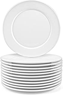 Foraineam 12 Pieces 8 Inch Round Porcelain Dinner Plates Salad Plate Set White Dinnerware Dish Serving Plates