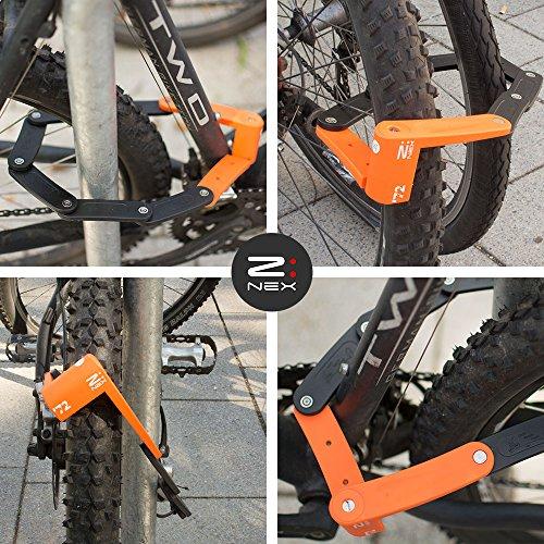 Z:NEX Fahrradschloss/Faltschloss/Gliederschloss mit hoher Sicherheitsstufe/Speziell gehärteter Stahl / 8 Glieder/sehr leicht & kompakt – nur 686g / inkl. Transporttasche/Halterung - 2