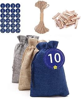 Advent Calendar Gift Bags, Christmas Advent calendar 2019, 24 Days Burlap Hanging Advent Calendars Garland Candy Gift Bags with 1-24 Advent Digital Stickers, DIY Craft Padding(Blue,Grey, Yellow)