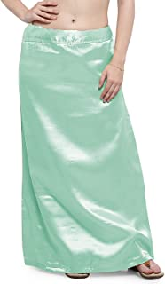 Indian Blouse Clothing Store Ziya Satin Petticoat with Attached Pure Cotton Inner Turquoise