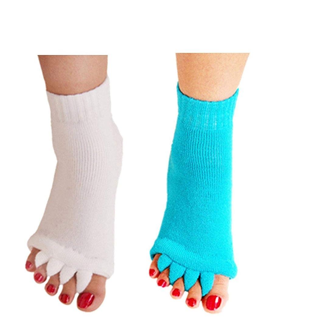 Minjie Foot Alignment Socks Toe Separator Socks Comfy Toes Alignment Socks Yoga Gym Massage Half Toe Socks for Women men(2 Pairs White+Sky blue )