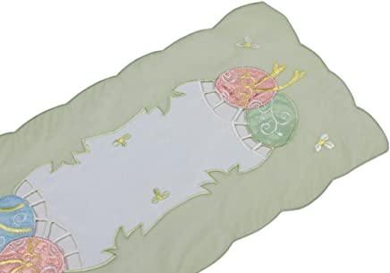 Xia Home Fashions Easter Egg  Embroidered Cutwork 11-Inch By 28-Inch Mini Easter Table Runner