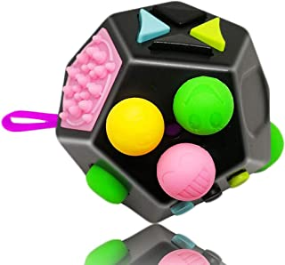 UOOE Fidget Toy Adults,Premium Quality Fidget Cube 12 Sides Dodecagon for Kids,Stress and Anxiety Relief Depression Anti Cubes for ADD, ADHD, OCD by (Black & Mix Colors)