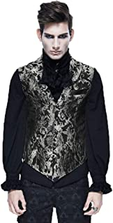 Steampunk Vintage Pale Golden Waistcoat Mens Hot Stamping Pattern Gentleman Sleeveless Short Blazer Jacket for Men