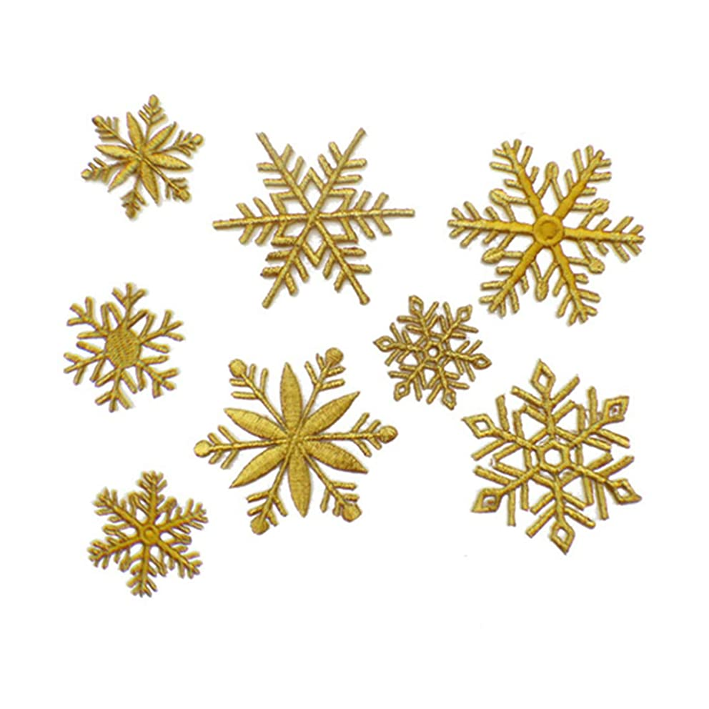 8 Pcs Cute Snowflake Delicate Embroidered Patches, Christmas Applique Cute Embroidery Patches, Iron On Patches, Sew On Applique Patch,Cool Patches for Men, Women, Kids