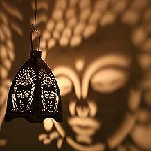 Decorate India Hanging Budha Lamp Brown Iron Hanging Lantern Black Cast Iron Hanging Lantern (18 cm X 15 cm, Pack of 1)