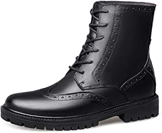 QinMei Zhou Combat Boots for Men High Top Boot Lace Up Genuine Leather Chic Youth Anti Slip with Texture Split Joint Wingtip Brogue Outdoor Warm (Color : Black, Size : 2.5 UK Child)