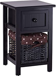 Casart 2 Tier Nightstand Bedroom End Table Bedside Organizer Wood with Drawer & Basket (1, Black)