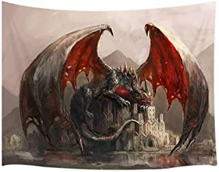 JAWO Fantasy Tapestry Wall Hanging, Dragon and Medieval Castle Gothic Theme Tapestries, Polyester Fabric Large Wall Tapest...