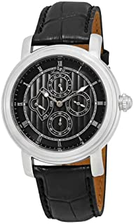 Men's LP-40009-01 Valarta Stainless Steel Watch with Black Leather Band