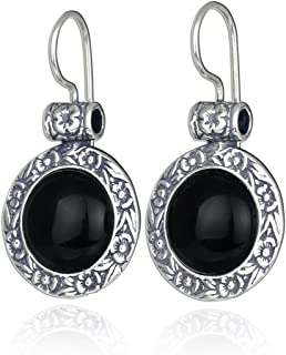 Stera Jewelry Choice of Gemstone 925 Sterling Silver Round Earrings with Ornate Floral Design