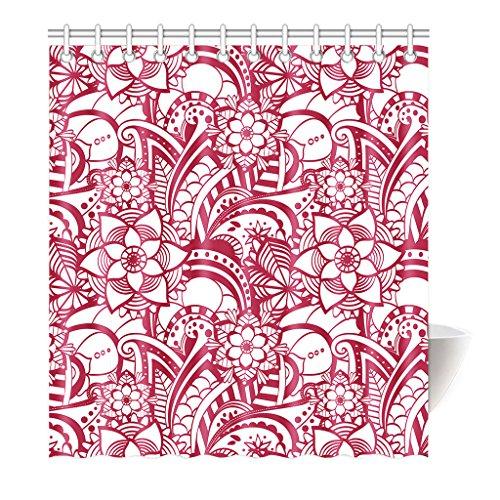Violetpos Duschvorhang Rot Pink Blumenart Hochwertige Qualität Badezimmer 160 x 180 cm