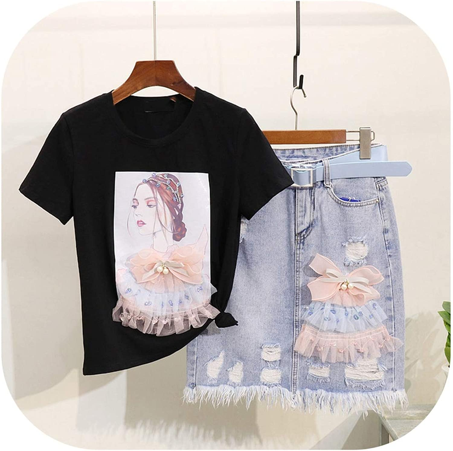 Enjoypeak Denim Skirt Suits Women Summer Dress New Bow Knot Beauty Girl Print ShortSleeve Tshirt+Hole Package