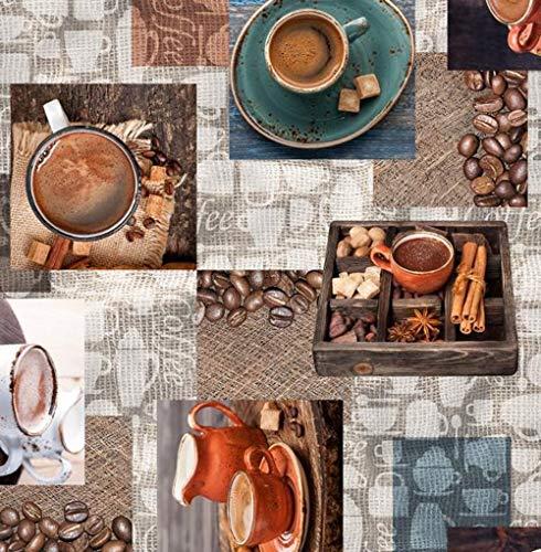 PVC Tischdecke Cafea Wachstuch · Eckig · Länge & Breite wählbar · abwaschbare Tischdecke · Coffee Kaffee Petrol braun Tasse Tisch, Größe:140 x 100 cm
