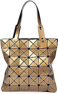 whatUneed Borse da donna con manico superiore, tracolla luminosa geometrica, shopping bag pieghevole in ecopelle in pelle ...