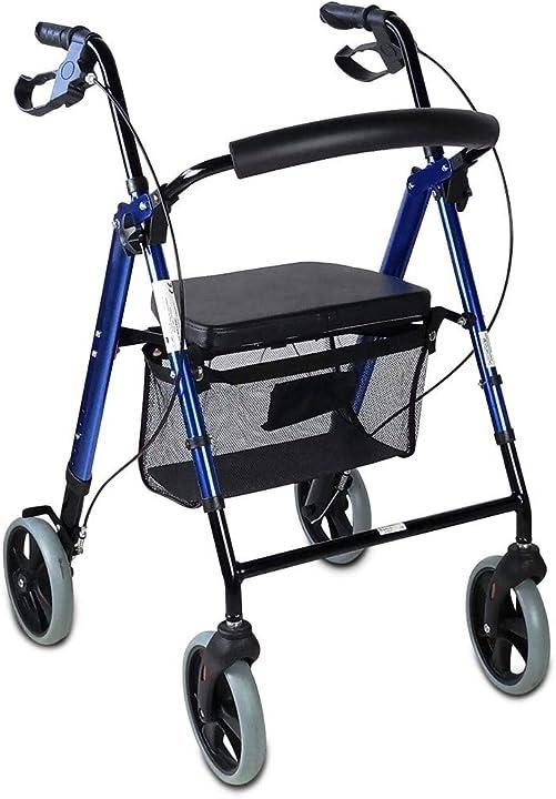 Deambulatore per anziani seduta e 4 ruote adulti o disabili colore blu mobiclinic QA-00461/05