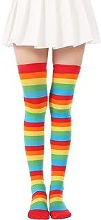Stockings Underwear & Sleepwears Charitable Colorful Rainbow Women Knee High Socks Girls Over Knee Leg Warmer Soft Stripe Knit Socks Latest Technology