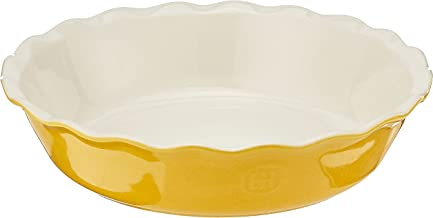 """Emile Henry 856121 Made In France HR Modern Classics Pie Dish, 9"""", Yellow"""