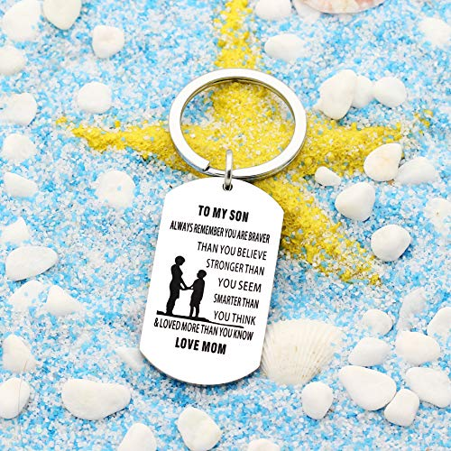 lauhonmin Mother Son Key Chain Ring To My Son - You are Braver Stronger Smarter than you think - Love Mom Photo #6