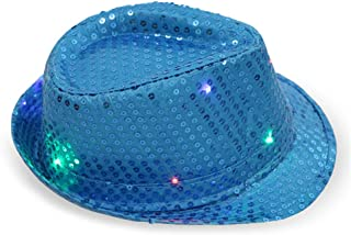 FEDBNET LED Light Up Sequin Fedora Hats, Light Up Hat for Rave and Costume Parties Unisex Bright LED Light Up Blinking Flashing Sequin Jazz Cap Party Hat Suitable for Xmas Party Concert Stage Show