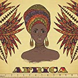 Ambesonne African Fabric by The Yard, Woman in Traditional Turban and Palms Cultural Folk Graphic Art, Decorative Fabric for Upholstery and Home Accents, Multicolor