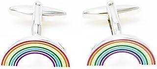 MRCUFF Rainbow Pair Cufflinks in a Presentation Gift Box & Polishing Cloth