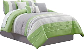 HGS 7-Pc Knoton Embossed Geometric Cube Lines Embroidery Pleated Comforter Set Lime Green Gray Off-White Queen