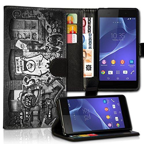 wicostar Book Style Alcatel One Touch Go Play 7048X Premium PU-Leder Tasche Flip Brieftasche Handy Hülle Kartenfächer mit Standfunktion für Alcatel One Touch Go Play 7048X - Design Flip MVC92