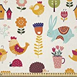 ABAKUHAUS Vistoso Tela por Metro, Infantiles Animales Del Arbolado, Satén para Textiles del Hogar y Manualidades, 1M (148x100cm), Multicolor
