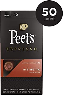 Peet's Coffee Espresso Capsules Ristretto, Intensity 10, 50 Count Single Cup Coffee Pods, Compatible with Nespresso Original Brewers