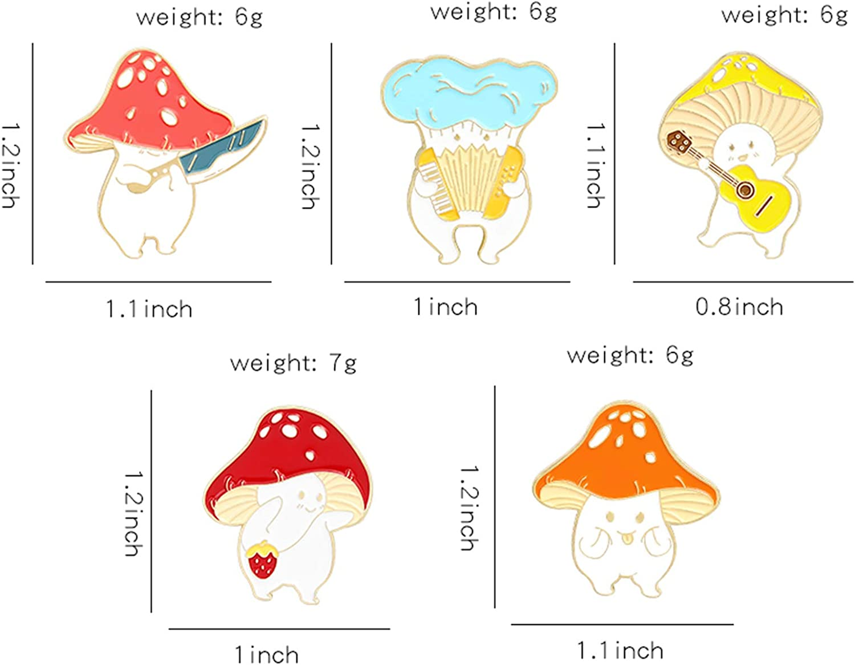 Enamel Pin Brooches Cute Mushroom Lapel Badge Cartoon Plant Enamel Pin Set for Backpack Cloths Hats Funny Button Pins Jewelry Set