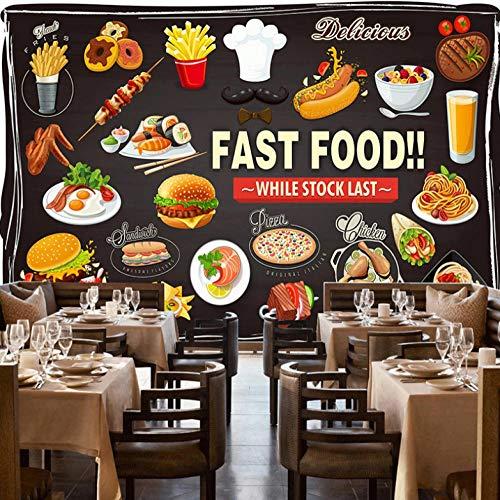 Carta Da Parati Murales Fotomurale Arte Foto Wallpaper 3D Adesivi Parete Fotomurale Poster Gigante Fotomurali Decorazione Della Parete Soggiorno Camera,Pizza Di Hamburger Fast Food,300X210Cm