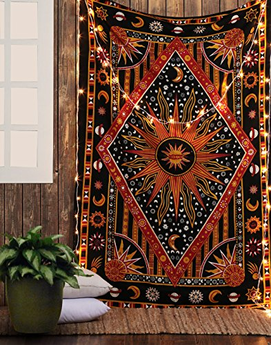 Wandbehang Hippie Sonne, Mond Psychedelic Wandteppich Rot - 213x137cm - Dekorativer Goa Trippy Wandtuch Böhmischer Boho Batik Baumwolle Tapestery für Wohnkultur Tagesdecke Strand & Wandteppiche