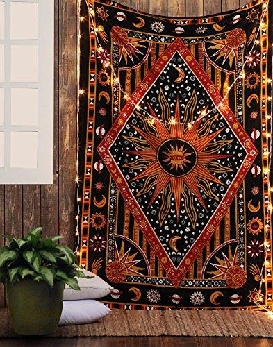 Tapiz Sol y Luna - Wall Tapestry Mandala Pared Decoracion Algodon Sheets Curtains Tapices Hippie Bohemio Arte Decorativo Toalla de Playa - Naranja - 213 x 137 cm