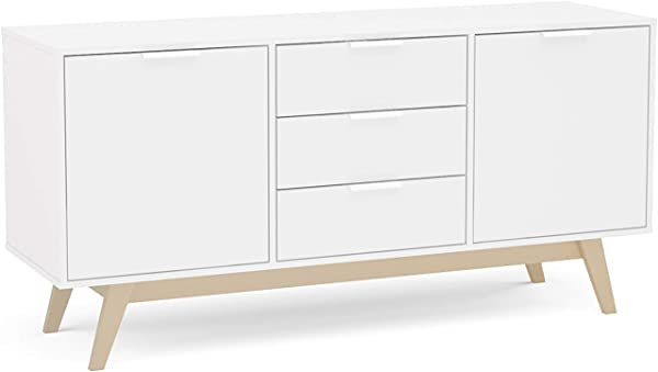 Polifurniture 401706670001 Shard Modern White Oak Sideboard Cabinet