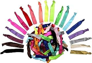 Alayna Rainbow No-Damage Ribbon Hair Ties- No Crease Stretchy Elastic Ponytail Holders Hair Bands, Solid Colors (60 Ties)