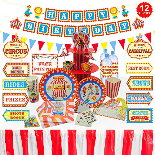 orangedolly Carnival Circus Party Decorations Supplies I 230 Pack I Birthday n Baby Shower Decorations I Tablecloth, Popcorn Boxes, Plates, Cups