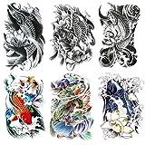 Kotbs 6 Sheets Temporary Tattoos Large Koi Fish Body Tattoos Sticker for Men Women Waterproof Fake Tattoos